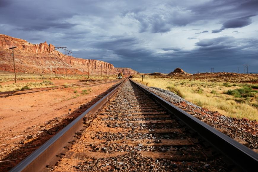 Railway Crossing on Highway 313, Utah, USA