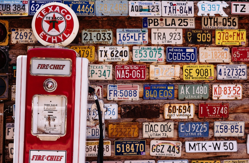 Vintage number plates, 'Hole n' the Rock', Utah, USA