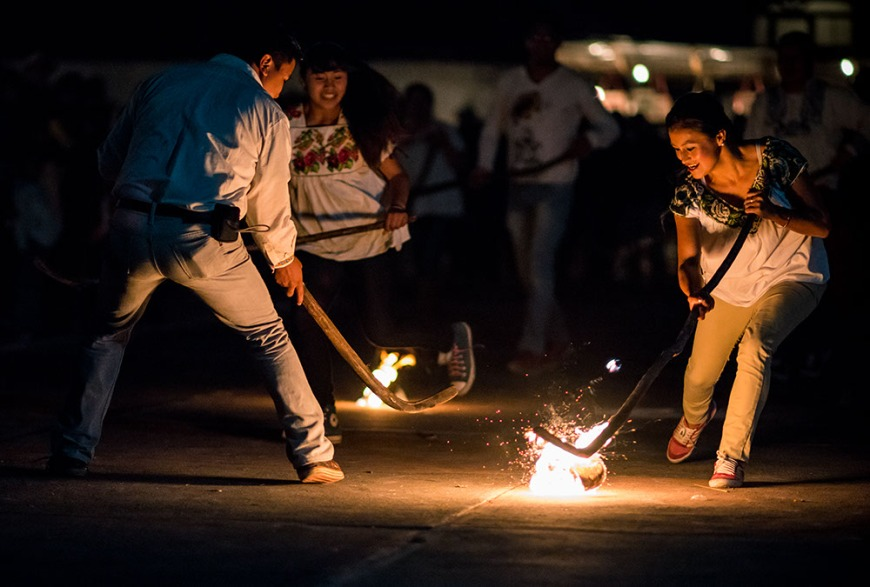 Pelota Phurépecha aka Wuarukua (Fire Hockey), Dia de los Muertos Celebrations, Jarácuaro, Lake Patzcuaro, Michoacán, Mexico