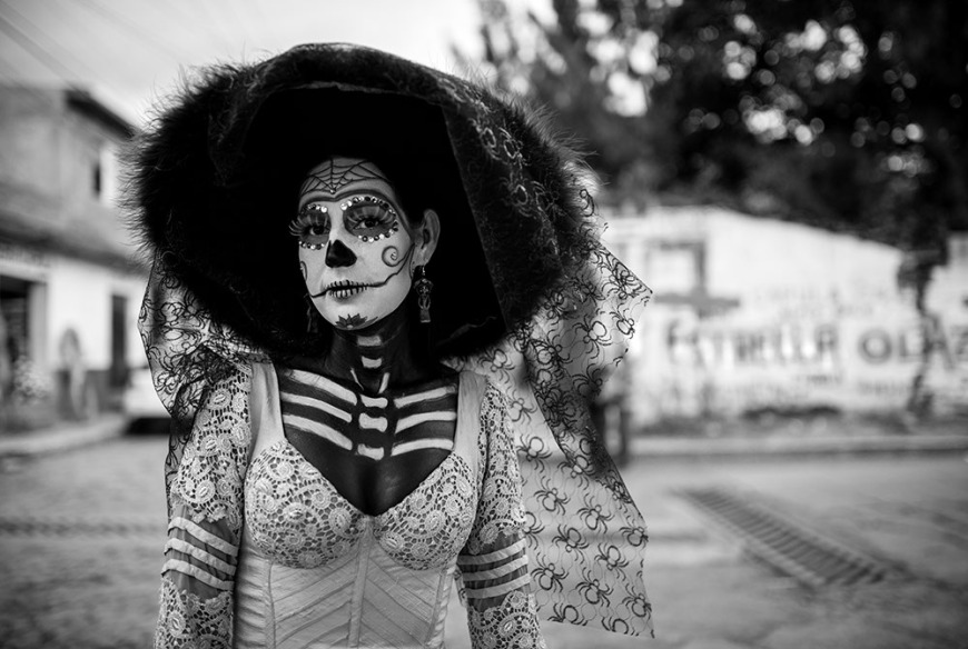 Girl dressed as a Catrina, Dia de los Muertos Celebrations, Capula, Michoacán, Mexico