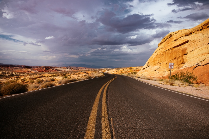 View of highway through Valley of Fire State Park, Nevada, USA