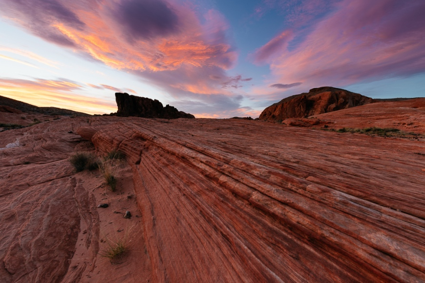Geology at dusk in Valley of Fire State Park, Nevada, USA