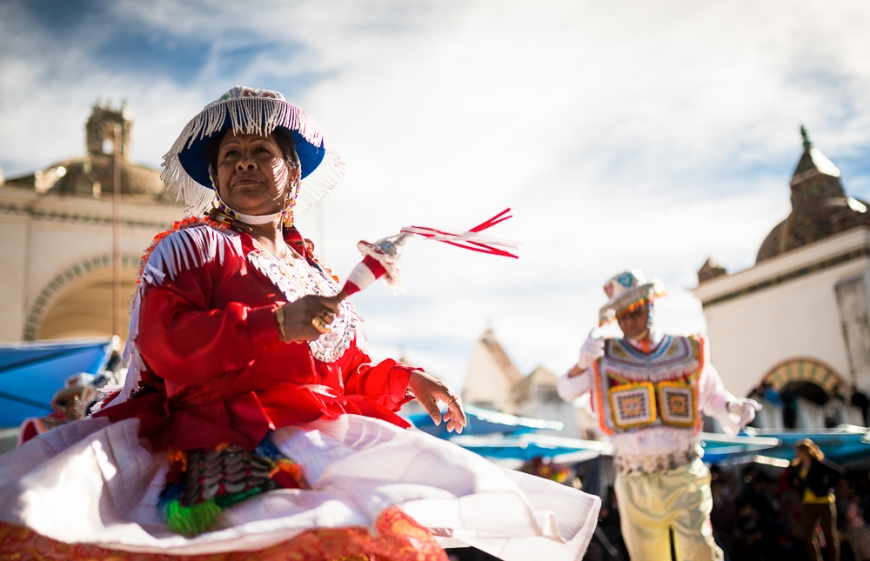 Dancers in traditional costume, Fiesta de la Virgen de la Candelaria, Copacabana, Lake Titicaca, Bolivia