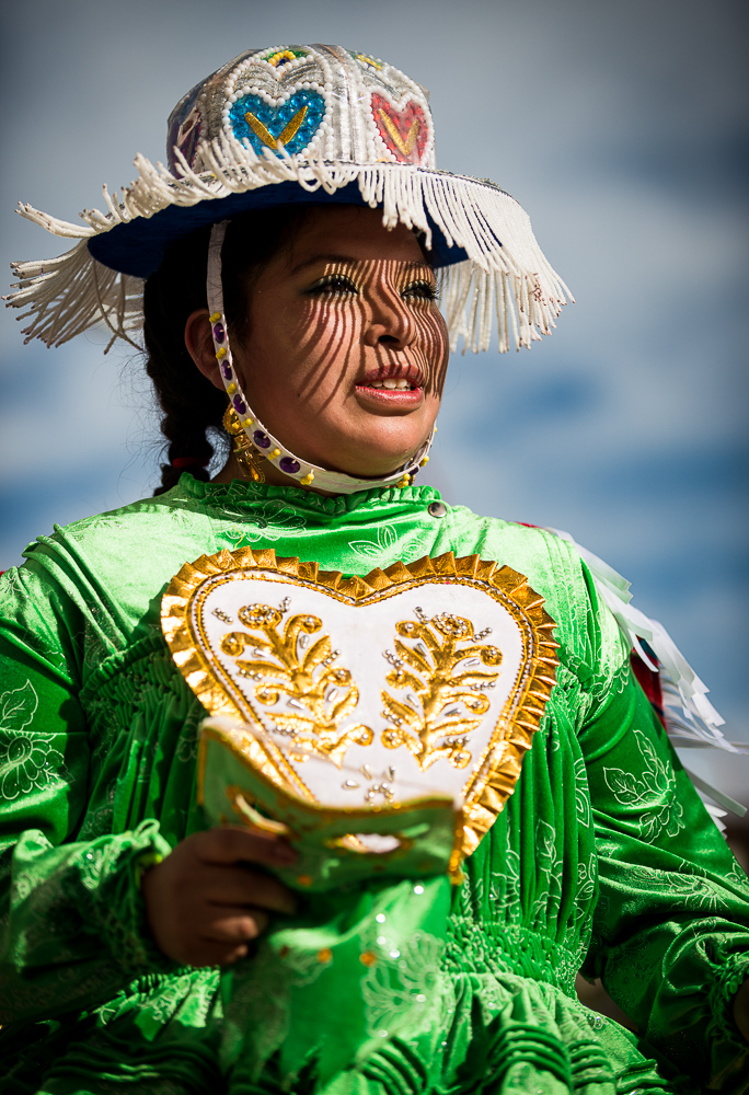 Dancer in traditional costume, Fiesta de la Virgen de la Candelaria, Copacabana, Lake Titicaca, Bolivia