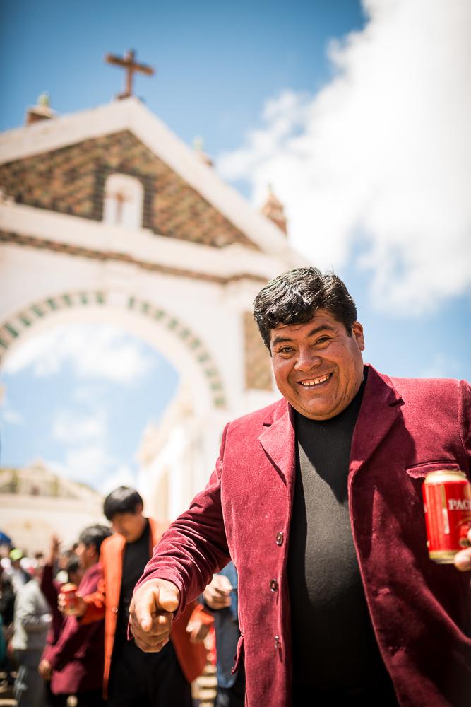 Festival reveller, Fiesta de la Virgen de la Candelaria, Copacabana, Lake Titicaca, Bolivia