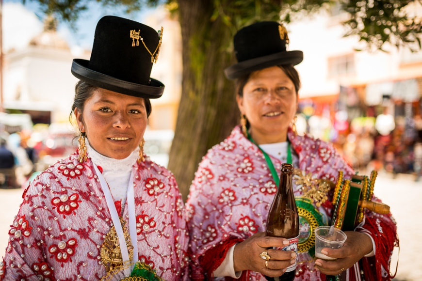 Dancers in traditional dress, Fiesta de la Virgen de la Candelaria, Copacabana, Lake Titicaca, Bolivia