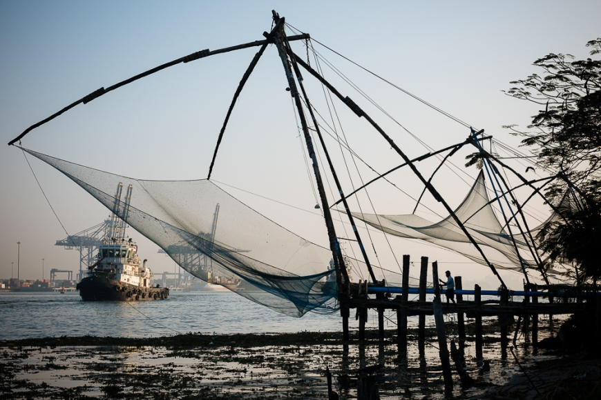 Chinese nets at dawn, Fort Kochi (Cochin), Kerala, India