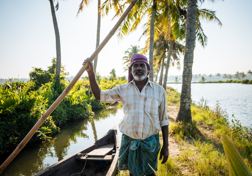 Portrait of Anthony, Backwaters near North Paravoor, Kerala, India