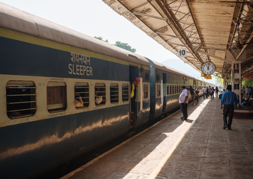 Karwal train station platform, Goa, India