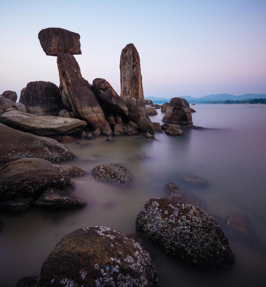 Twilight over Rock formations, Agonda, Goa, India