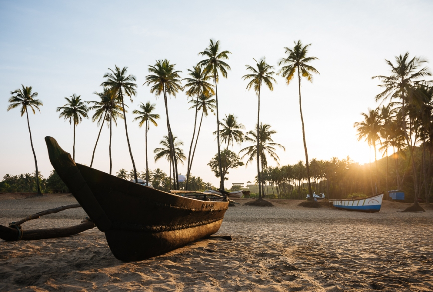Dawn light at Agonda beach, Goa, India