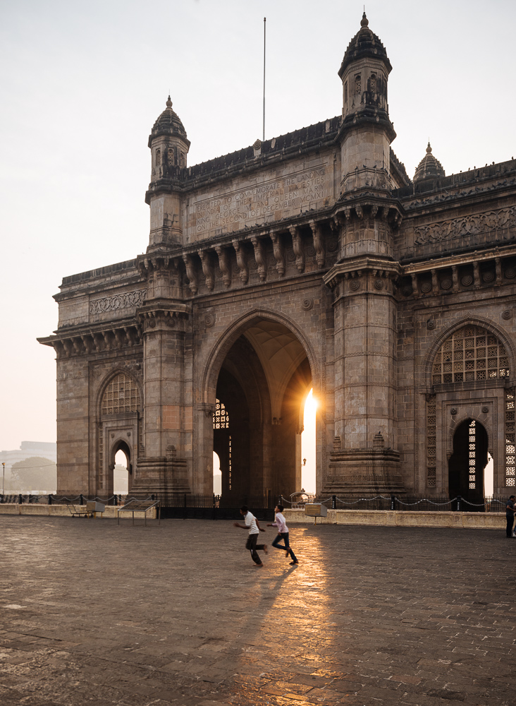 Sunrise behind The Gateway to India, Mumbai, India
