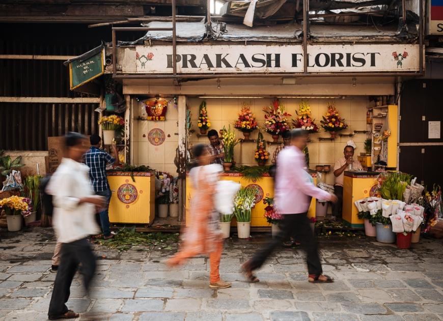 Exterior of florist shop, Mumbai, India