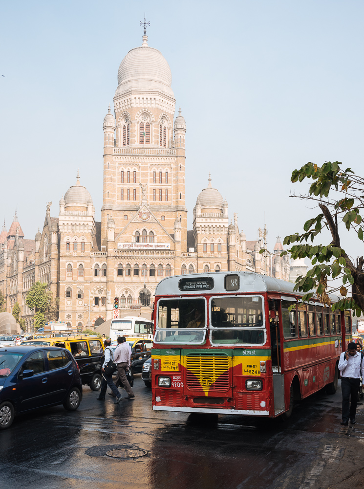 Double decker bus outside Mumbai Municipal corporation building, Mumbai, India
