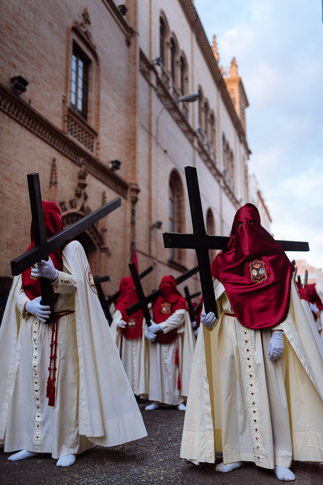 Penitents of 'La Lanzada' (The Launched) Brotherhood taking part in processions during Semana Santa (Holy Week), Seville, Andalucia, Spain