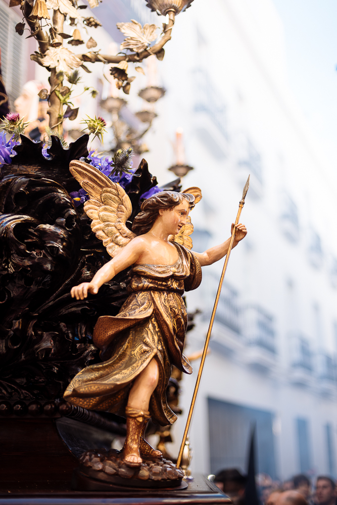 Detail of the float of 'La Carretería' Brotherhood taking part in processions during Semana Santa (Holy Week), Seville, Andalucia, Spain