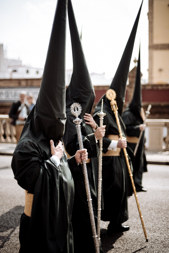Penitents of 'El Sol' Brotherhood taking part in processions during Semana Santa (Holy Week), Seville, Andalucia, Spain