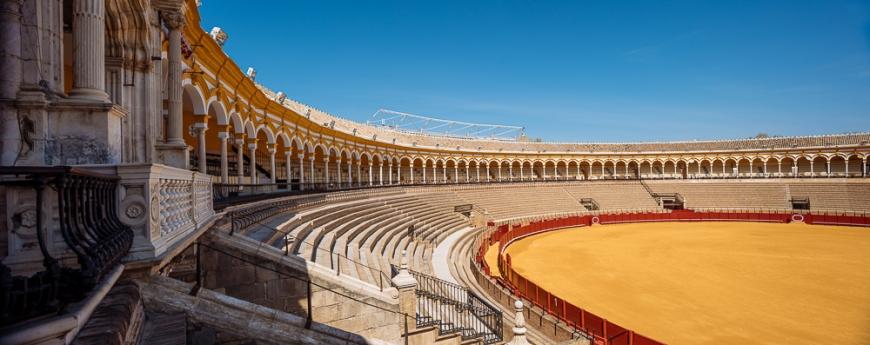 Interior of 'Plaza de toros de la Real Maestranza de Caballería de Sevilla' (The Bullring), Seville, Andalucia, Spain
