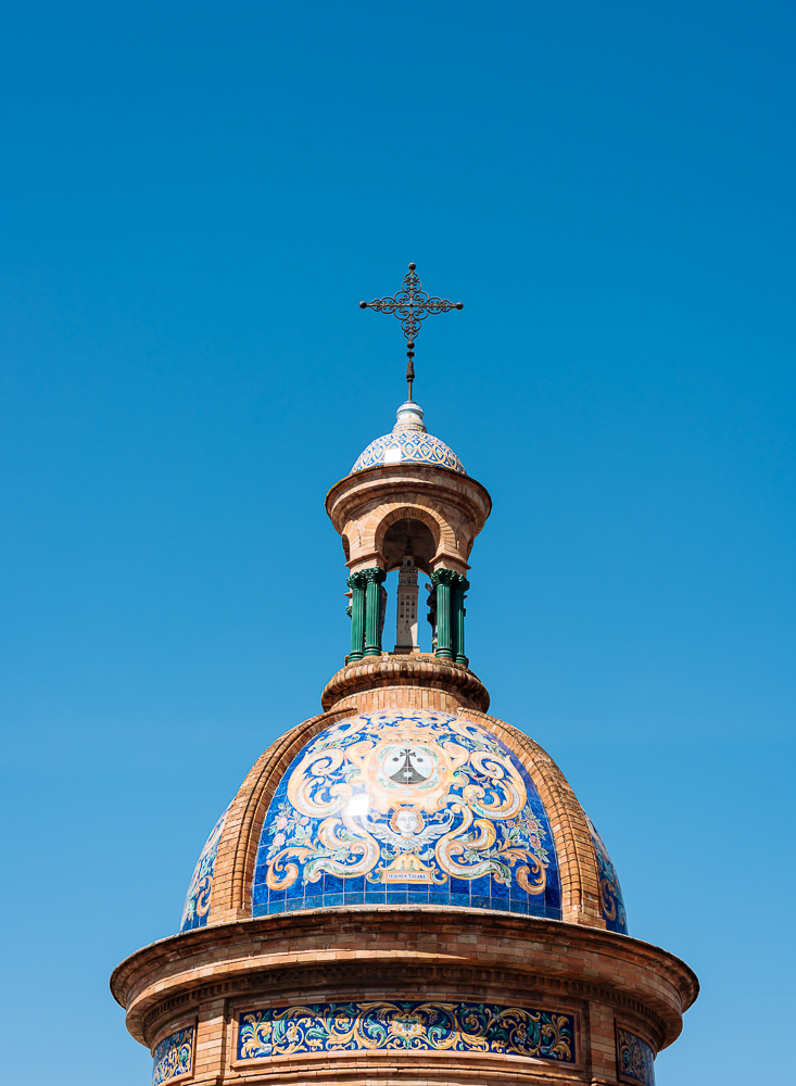 Detail of traditionally decorated rooftop, Seville, Spain