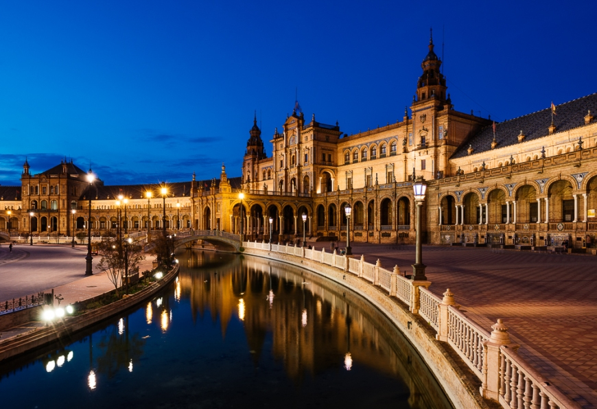 Exterior of Plaza de España at night, Seville, Andalucia, Spain