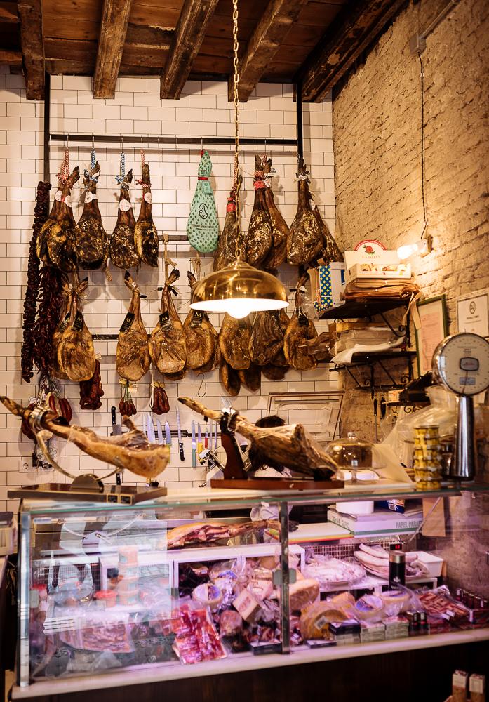 Interior of traditional Spanish delicatessen, Seville, Andalucia, Spain