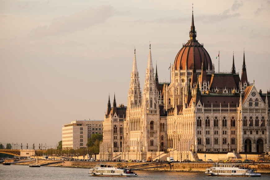 Evening light on the Hungarian Parliament Building & Danube River, Budapest, Hungary