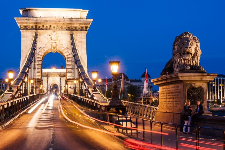 Chain Bridge at night, Budapest, Hungary