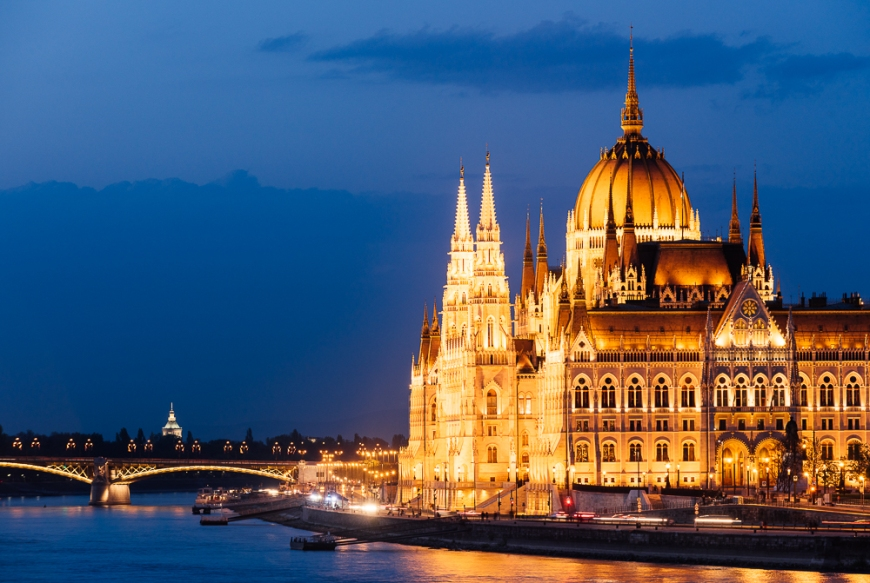 Hungarian Parliament Building & Danube River at night, Budapest, Hungary