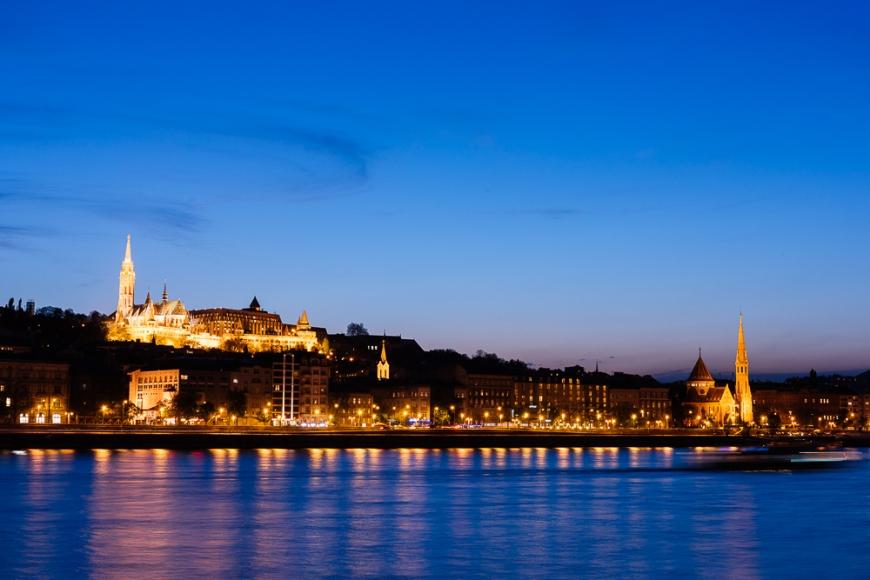 Buda & Danube River at night, Budapest, Hungary