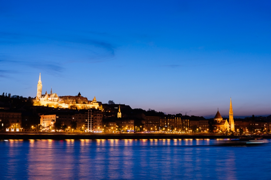 Buda & Danube River at night, Budapest, Hungary
