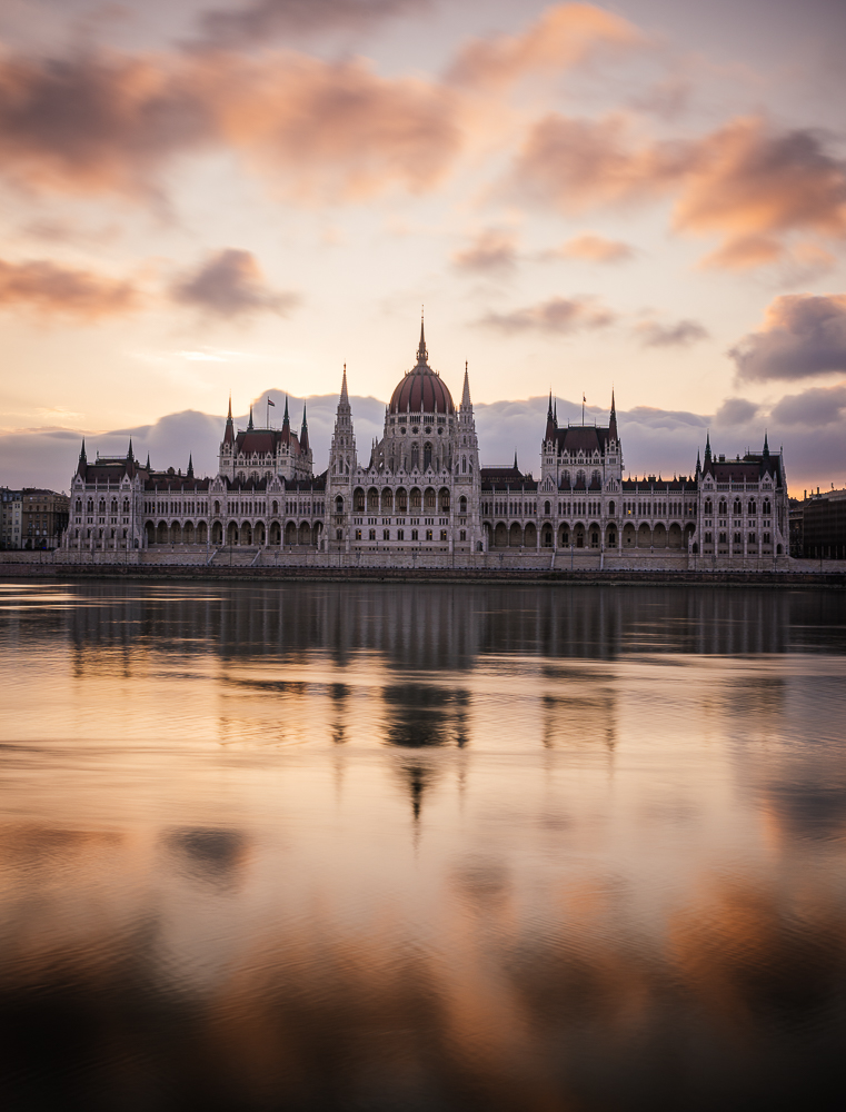 Sunrise behind the Hungarian Parliament Building & Danube River, Budapest, Hungary
