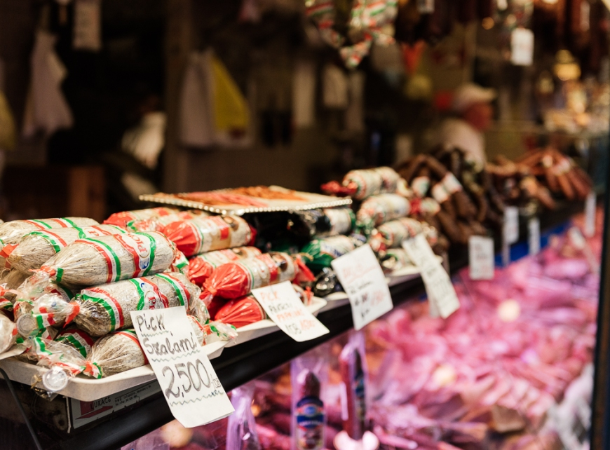 Detail of Salami stall, Central Market Hall, Budapest, Hungary