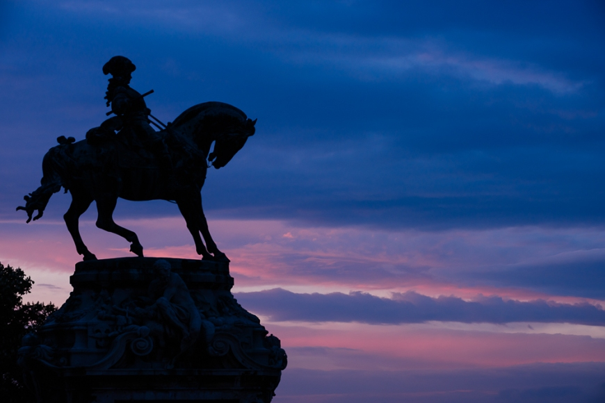 Silhouette of Statue at twilight from Buda Castle, Budapest, Hungary