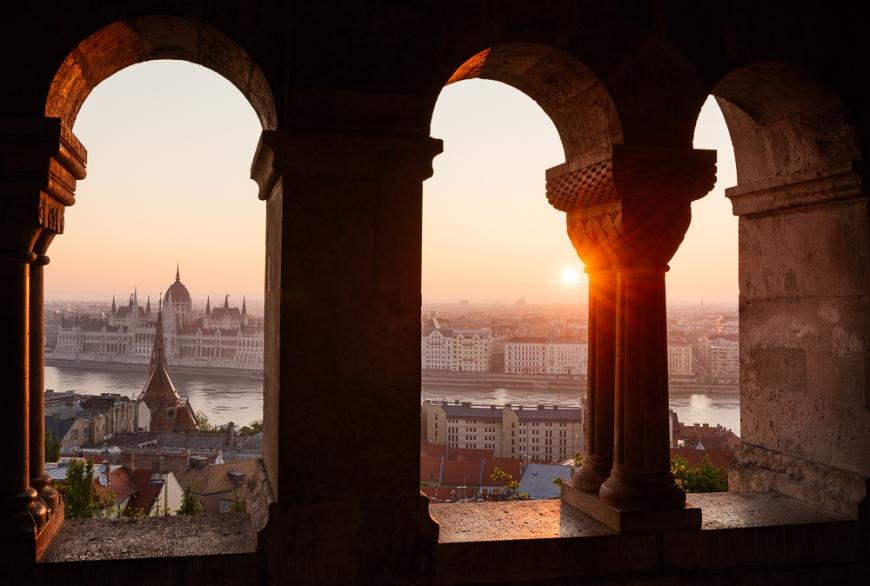 View from Fisherman's Bastion over Danube River & Hungarian Parliament Building at dawn, Budapest, Hungary
