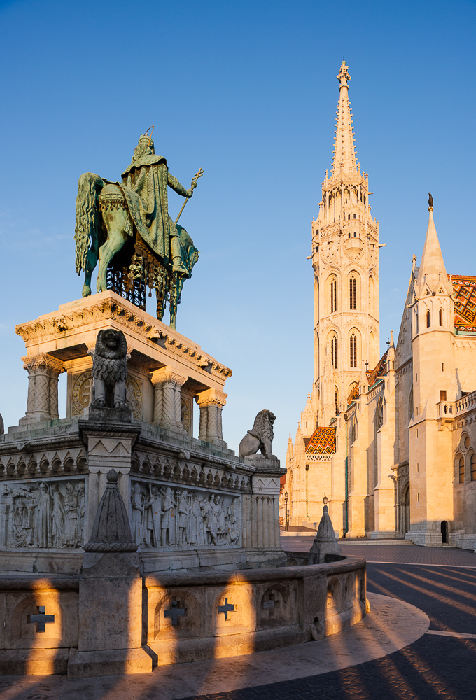 Exterior of Matthias Church at dawn, Fisherman's Bastion, Budapest, Hungary