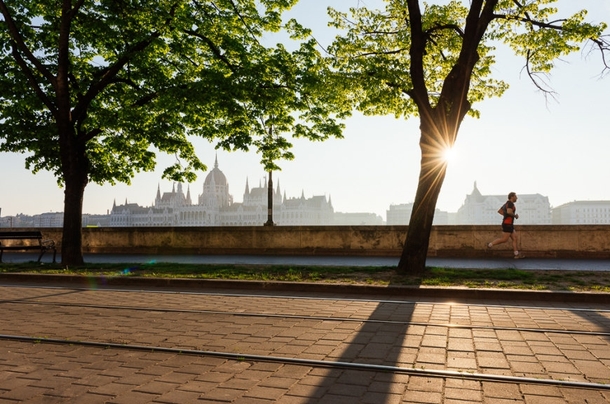 Sunrise behind the Hungarian Parliament Building, Budapest, Hungary
