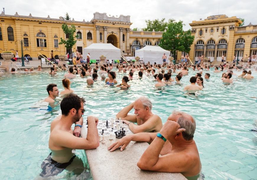 Men playing chess, Széchenyi Thermal Baths, Budapest, Hungary