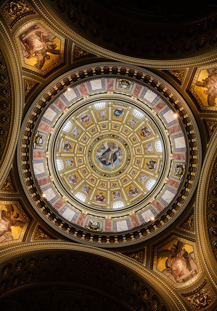 View of domed ceiling inside St. Stephen's Basilica (Szent István-bazilika), Budapest, Hungary