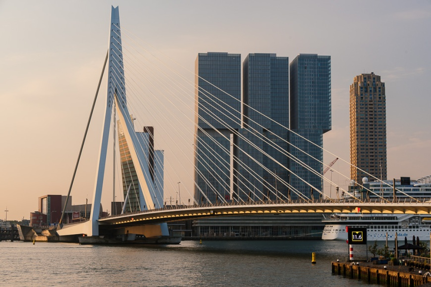 Erasmus Bridge and 'De Rotterdam', Wilhelminakade, Rotterdam, Netherlands
