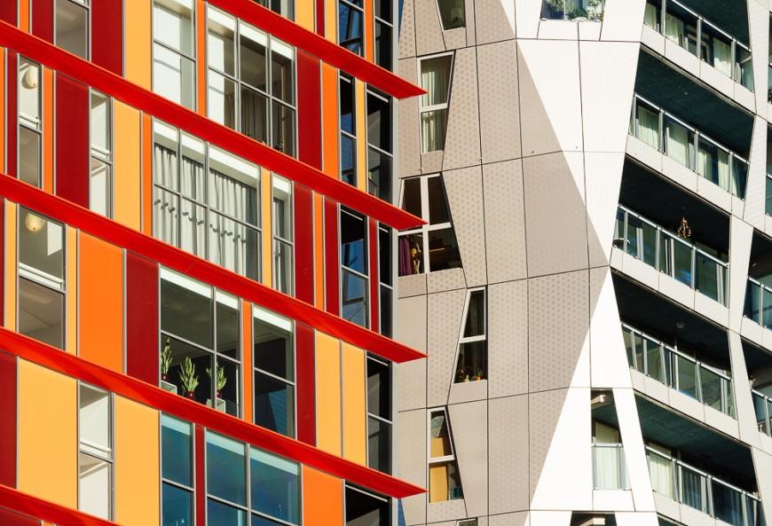 Exterior detail of Calypso Building, Kruisplein, Rotterdam, Netherlands