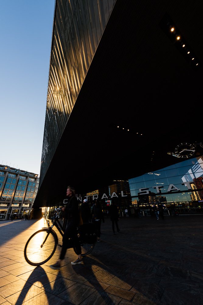 Exterior of Rotterdam Central Station at dusk, Rotterdam, Netherlands