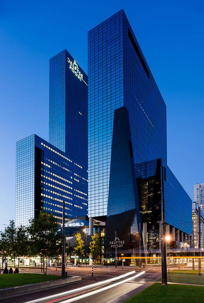 Exterior of Delftse Poort at night, Rotterdam, Netherlands