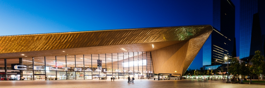 Exterior of Rotterdam Central Station at night, Rotterdam, Netherlands