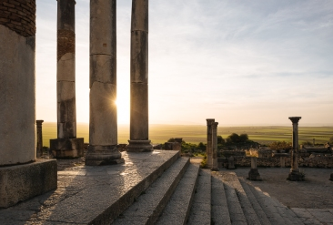 Roman Ruins of Volubilis at sunset, Meknes, Morocco, North Africa