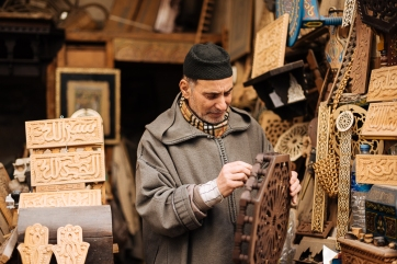 Portrait of shopkeeper, Medina, Fes el Bali, Fes, Morocco, North Africa