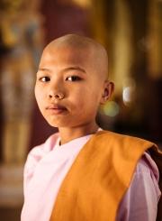 Portrait of novice Nun, Ananda Pagoda, Bagan, Mandalay Region, Myanmar