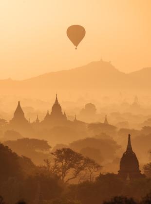 View of Temples and Hot Air Balloons at dawn, Bagan, Mandalay Region, Myanmar