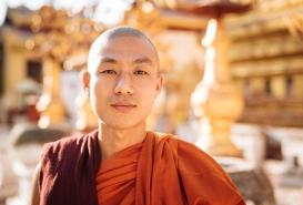Portrait of Buddhist Monk at Shwezigon Pagoda, Bagan, Mandalay Region, Myanmar