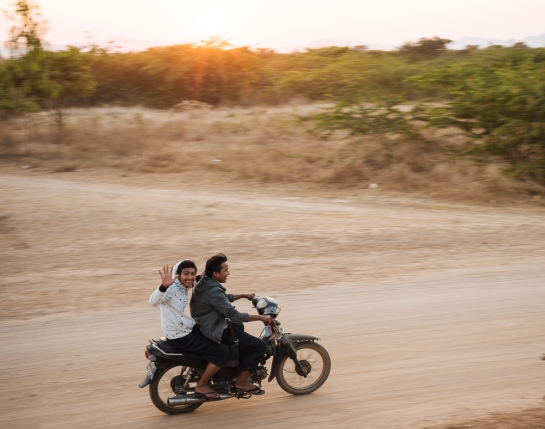 Motorcycle traffic in Bagan, Mandalay Region, Myanmar