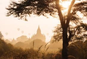View of Temples at dawn, Bagan, Mandalay Region, Myanmar